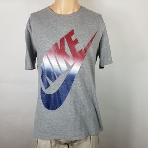 NIKE Men Tshirt Sz L Gray Swoosh Red Blue White